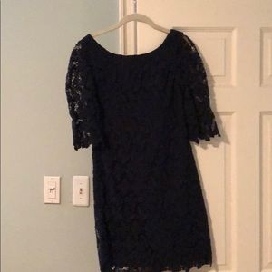 Lilly Pulitzer navy lace dress.